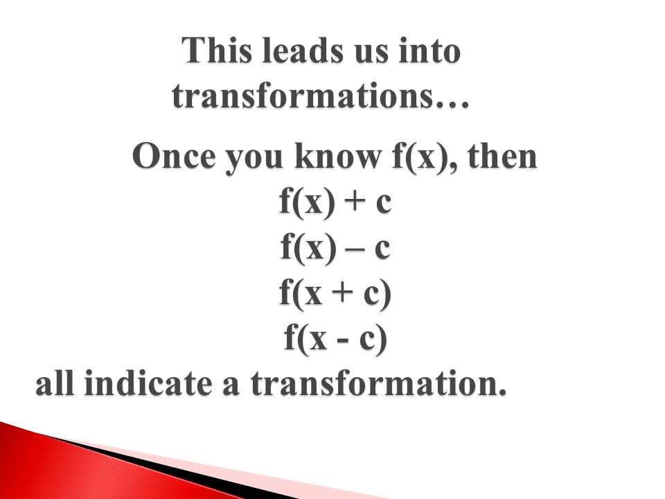 This leads us into transformations…