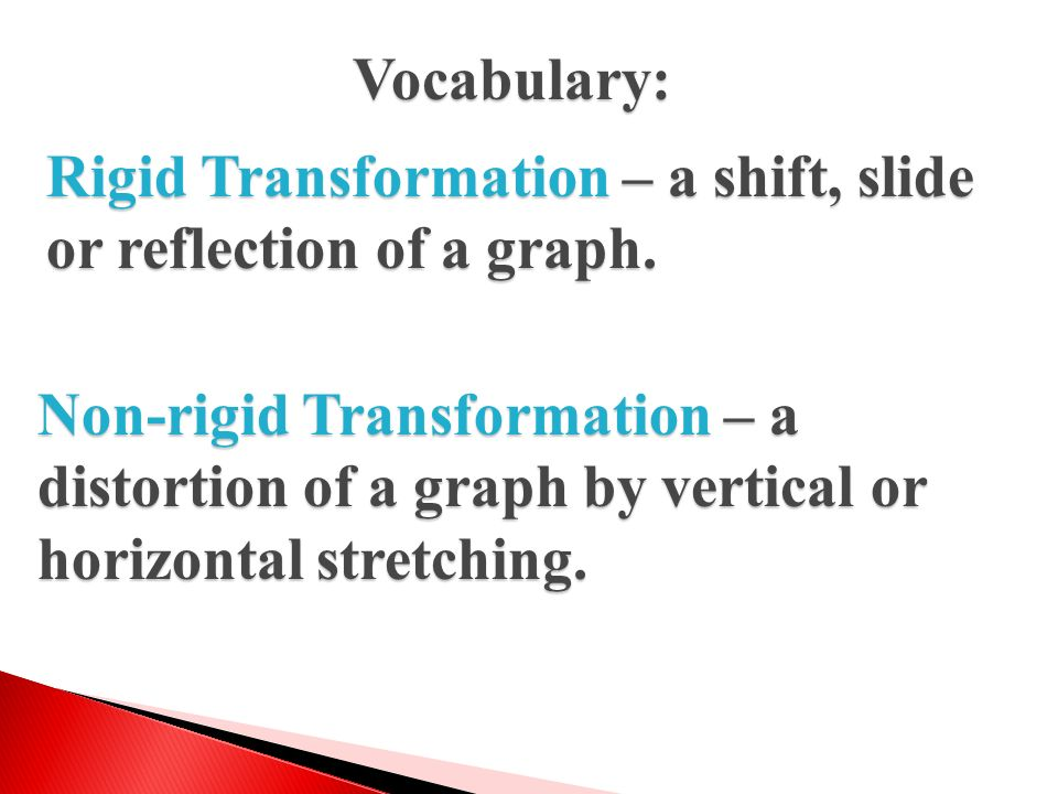 Vocabulary: Rigid Transformation – a shift, slide or reflection of a graph.