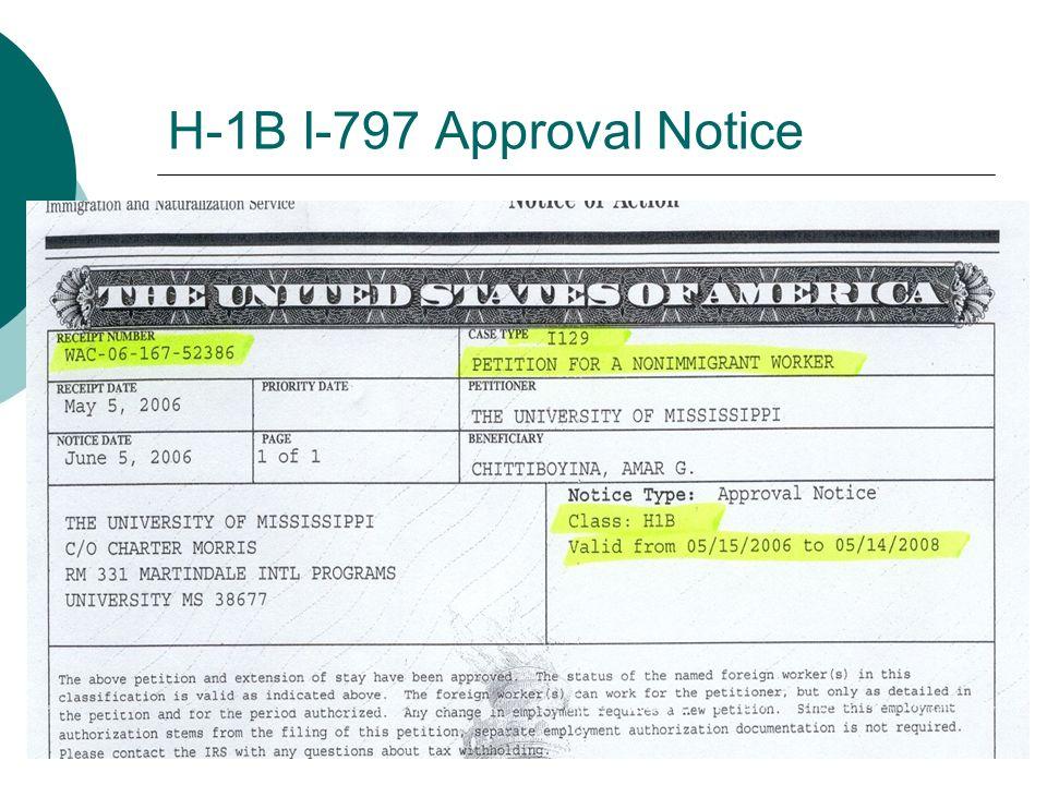 H-1B I-797 Approval Notice