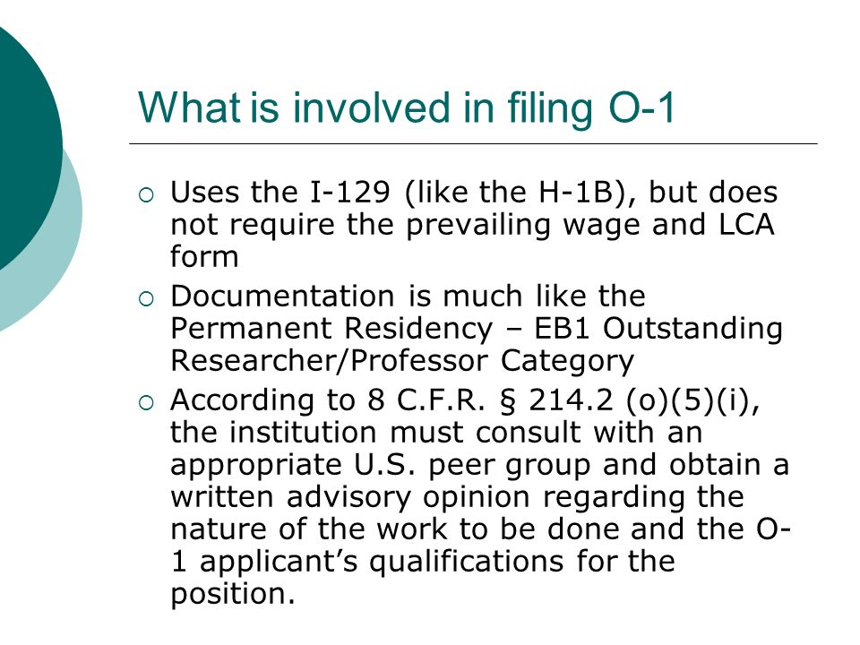 What is involved in filing O-1