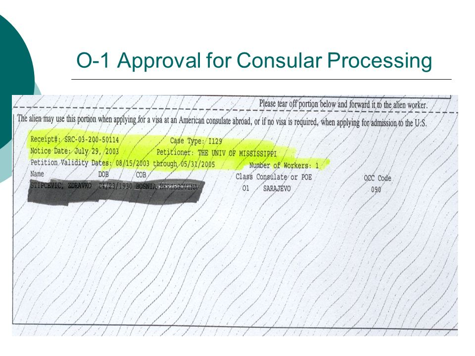 O-1 Approval for Consular Processing