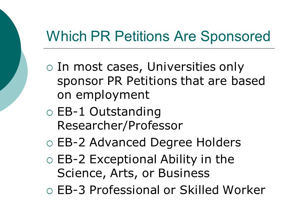 Which PR Petitions Are Sponsored