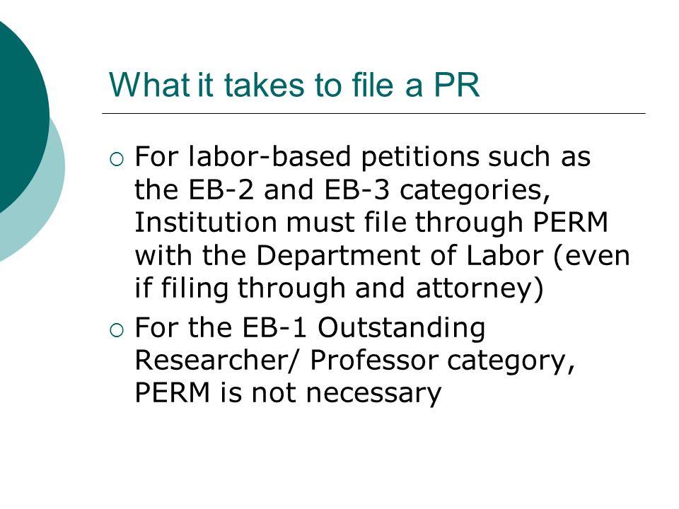 What it takes to file a PR