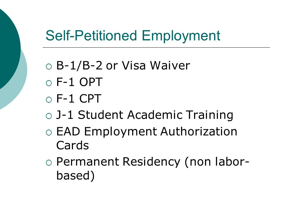 Self-Petitioned Employment