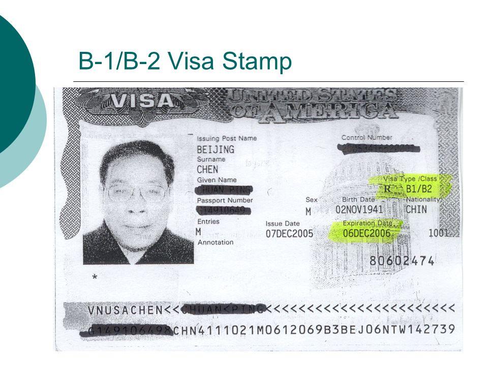 B-1/B-2 Visa Stamp
