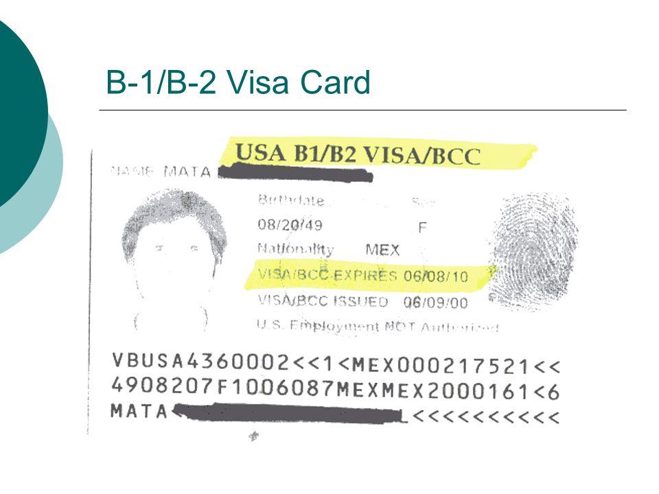 B-1/B-2 Visa Card