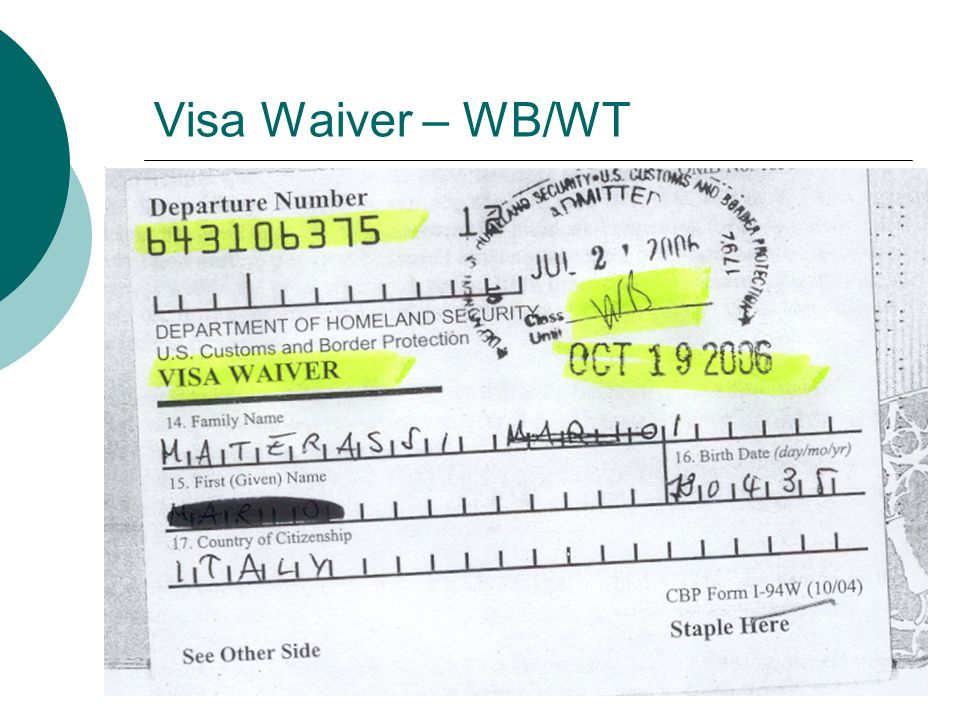 Visa Waiver – WB/WT