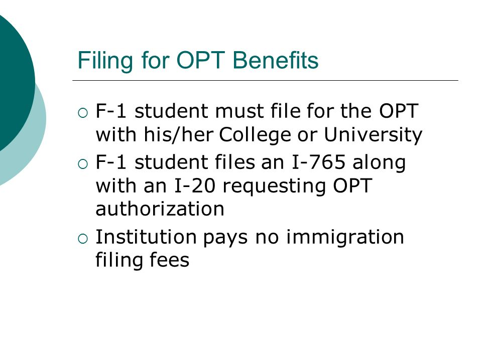 Filing for OPT Benefits