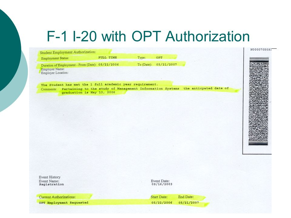 F-1 I-20 with OPT Authorization