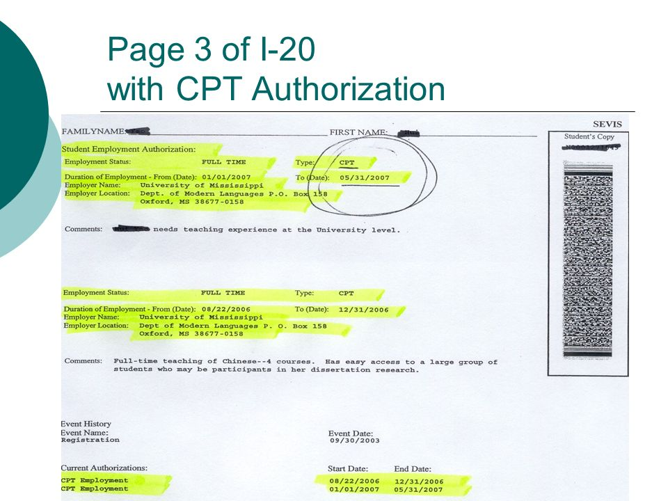Page 3 of I-20 with CPT Authorization