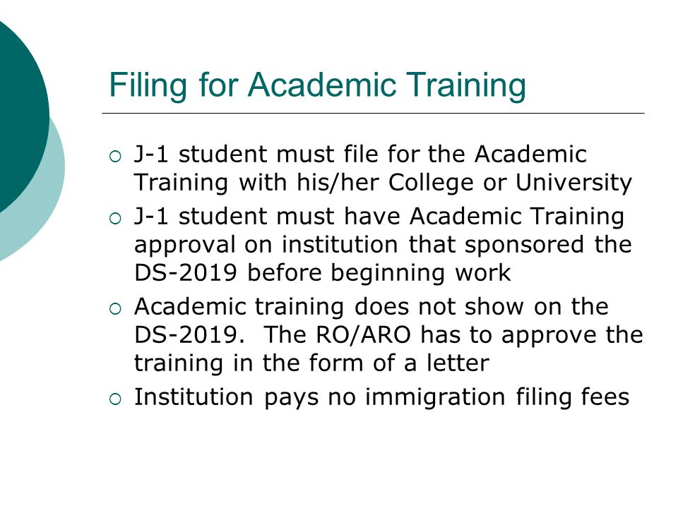 Filing for Academic Training