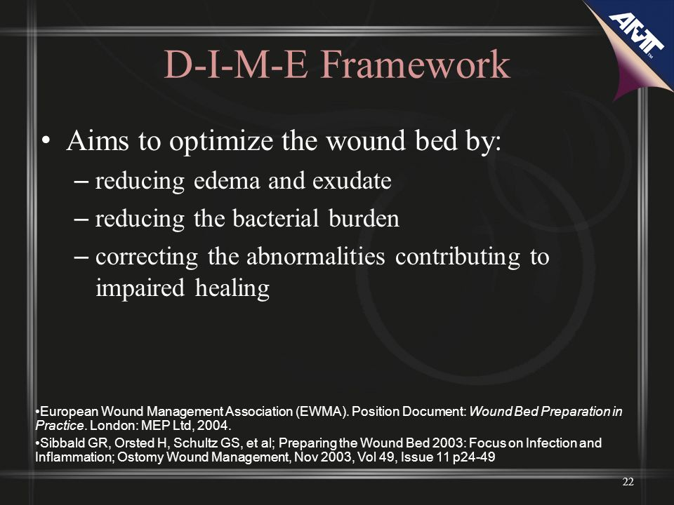 D-I-M-E Framework Aims to optimize the wound bed by: