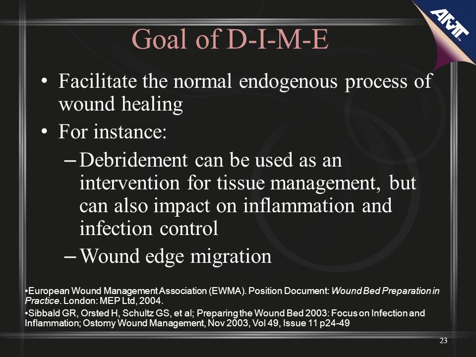 Goal of D-I-M-E Facilitate the normal endogenous process of wound healing. For instance: