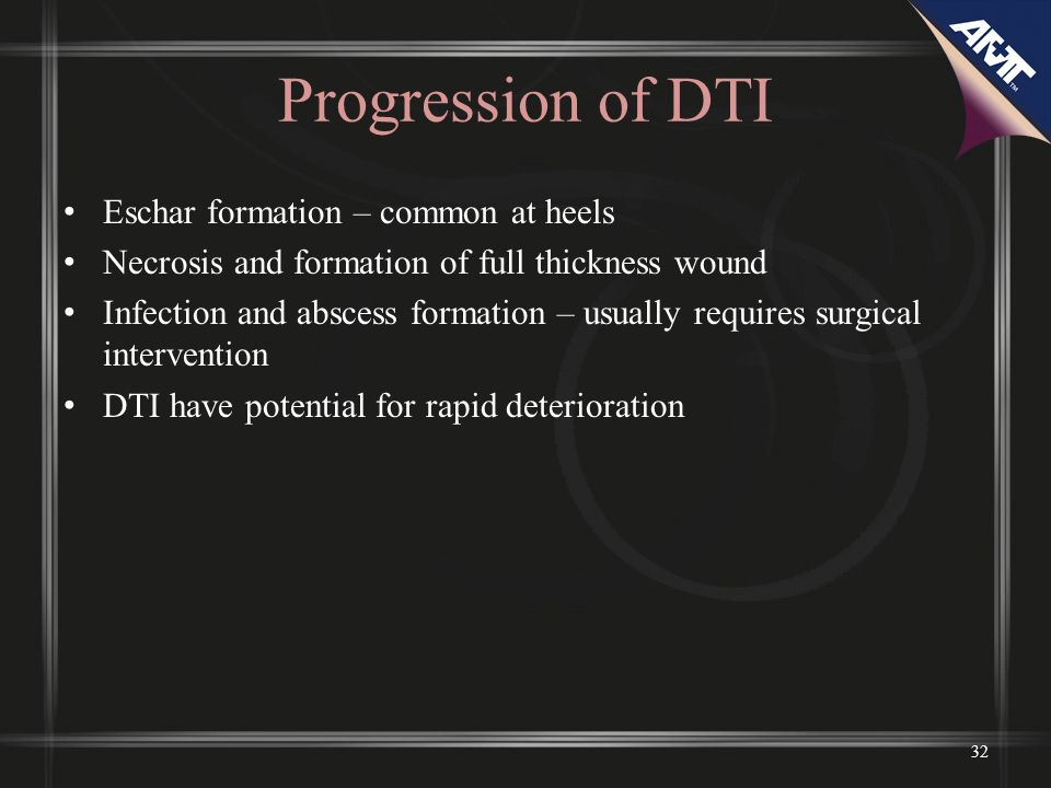 Progression of DTI Eschar formation – common at heels