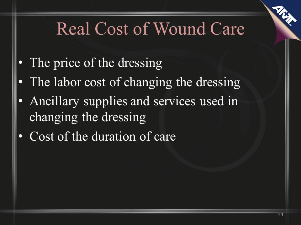 Real Cost of Wound Care The price of the dressing