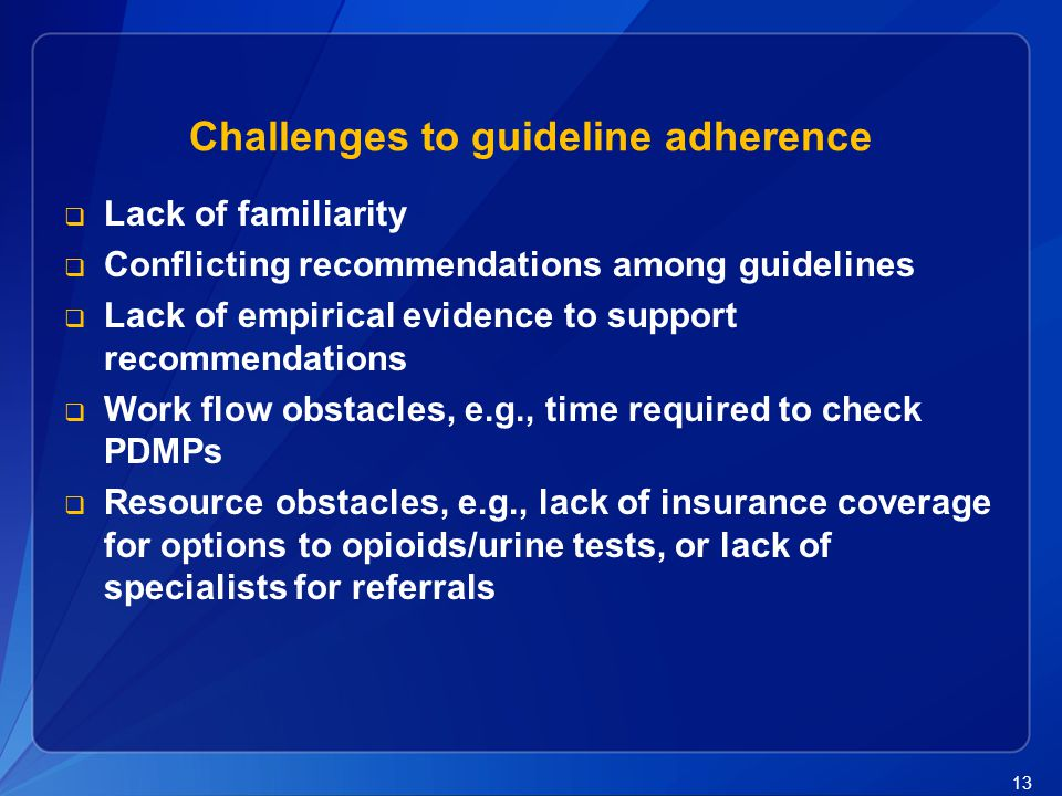 Challenges to guideline adherence