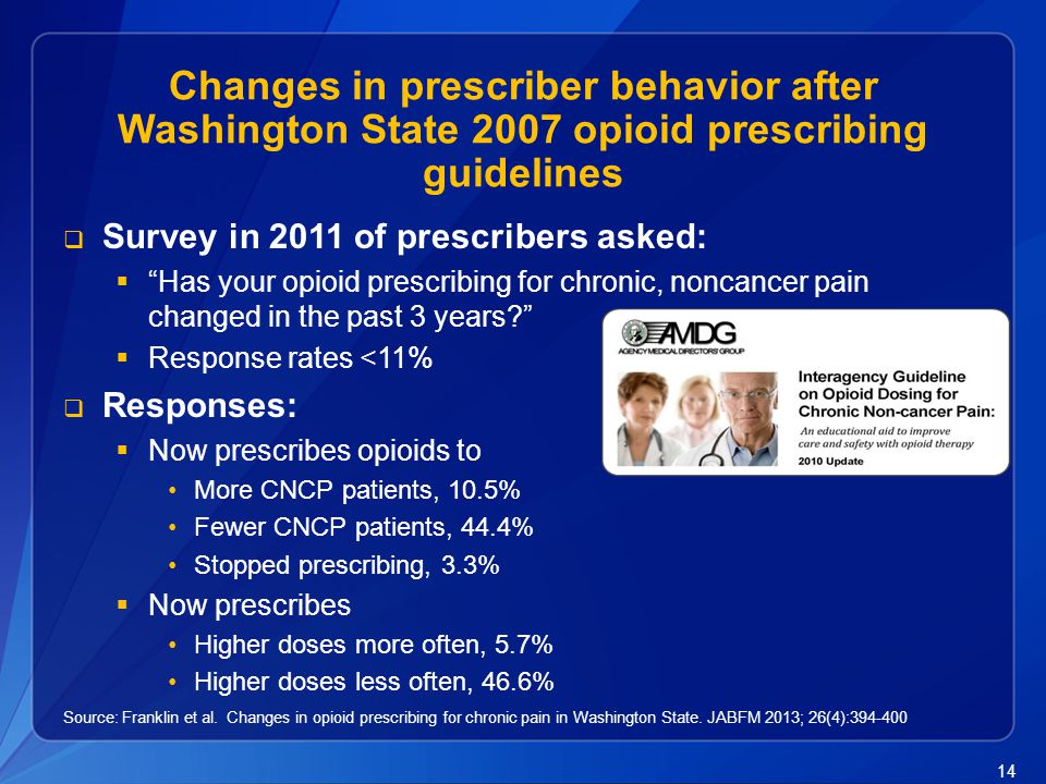 Changes in prescriber behavior after Washington State 2007 opioid prescribing guidelines