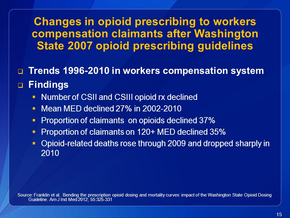 Changes in opioid prescribing to workers compensation claimants after Washington State 2007 opioid prescribing guidelines