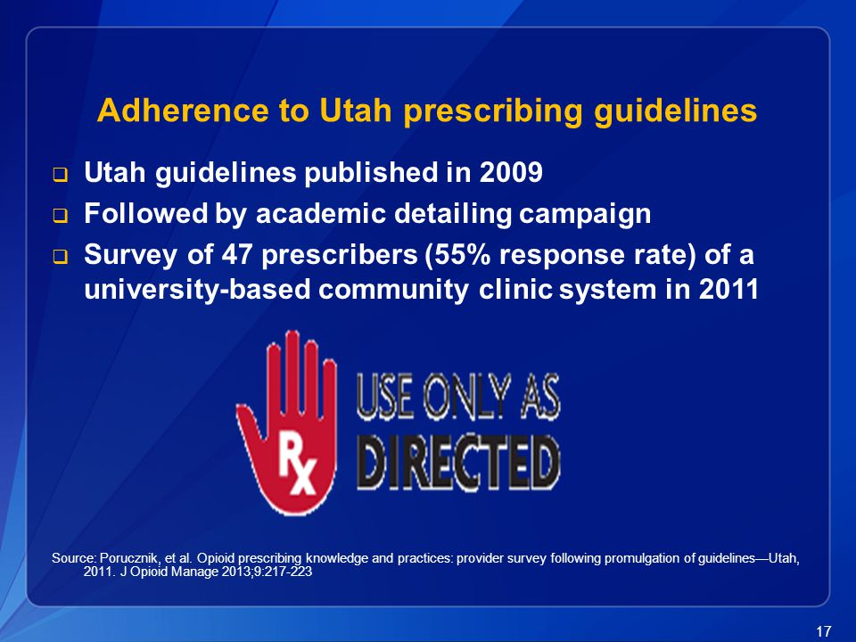 Adherence to Utah prescribing guidelines