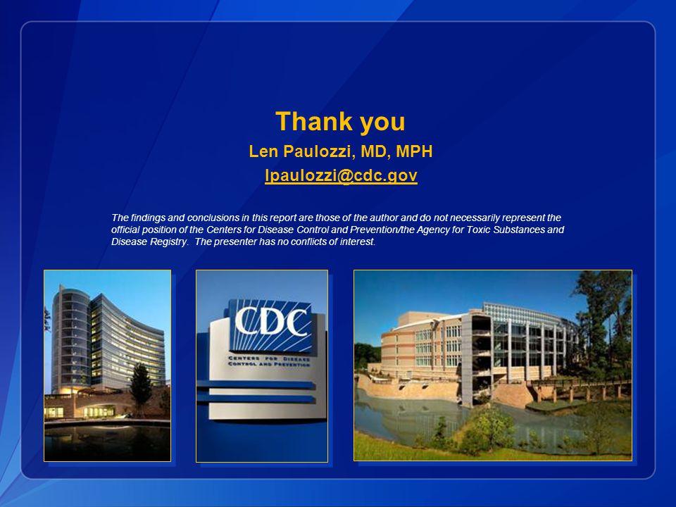 Thank you Len Paulozzi, MD, MPH lpaulozzi@cdc.gov