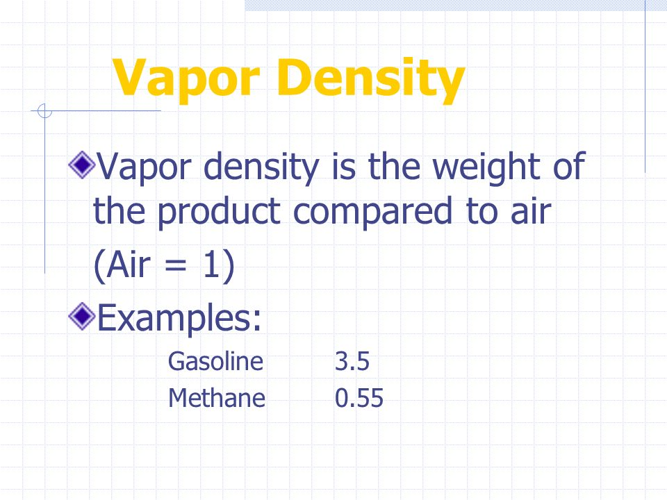 Vapor Density Vapor density is the weight of the product compared to air. (Air = 1) Examples: Gasoline 3.5.