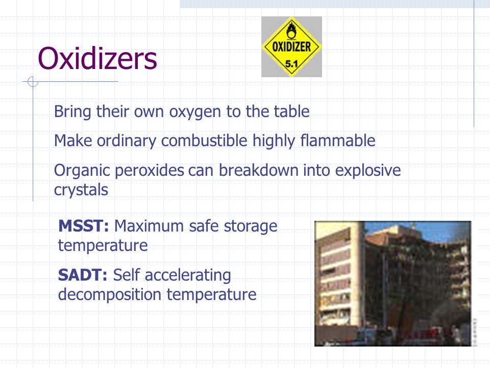Oxidizers Bring their own oxygen to the table