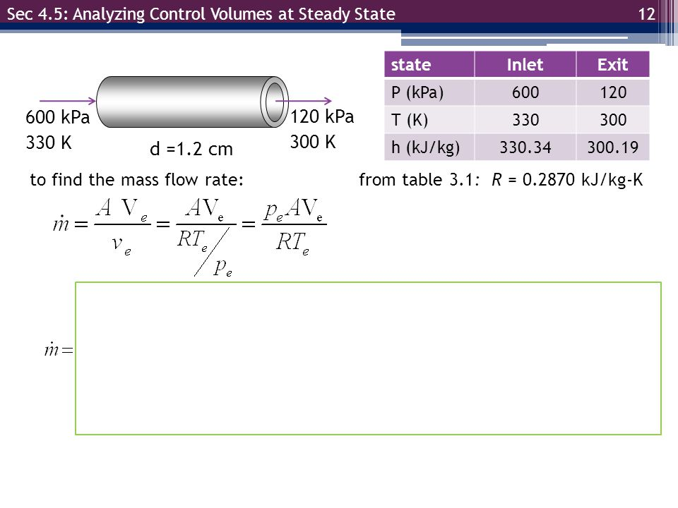 Sec 4.5: Analyzing Control Volumes at Steady State