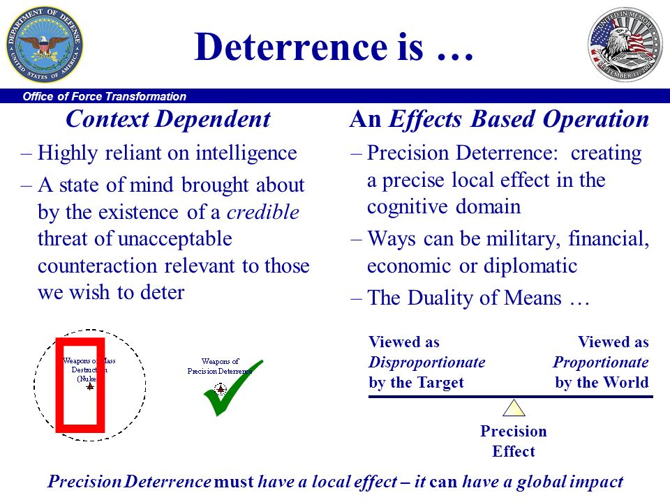 û  Deterrence is … Context Dependent An Effects Based Operation