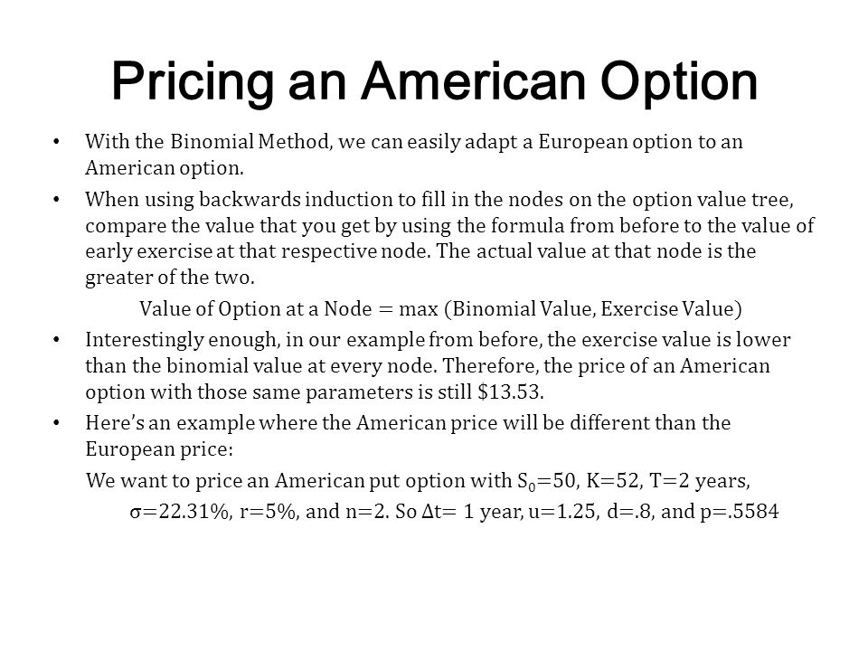 Pricing an American Option