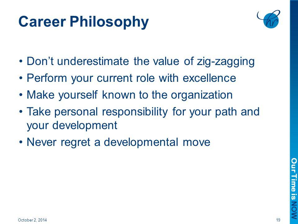 Career Philosophy Don't underestimate the value of zig-zagging
