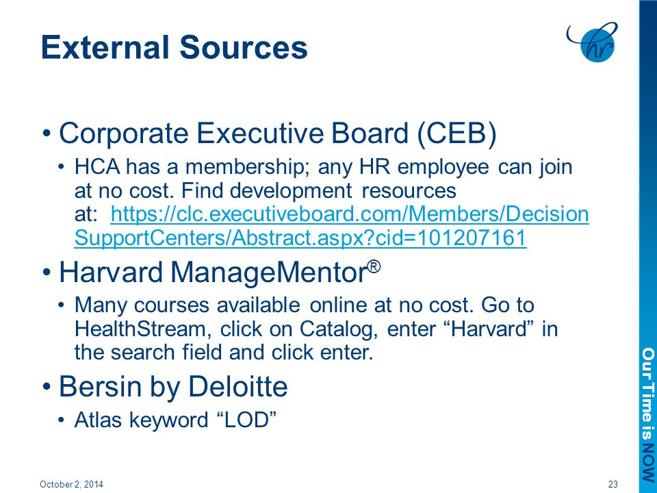 External Sources Corporate Executive Board (CEB) Harvard ManageMentor®