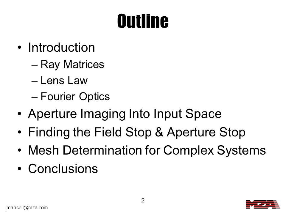 Outline Introduction Aperture Imaging Into Input Space