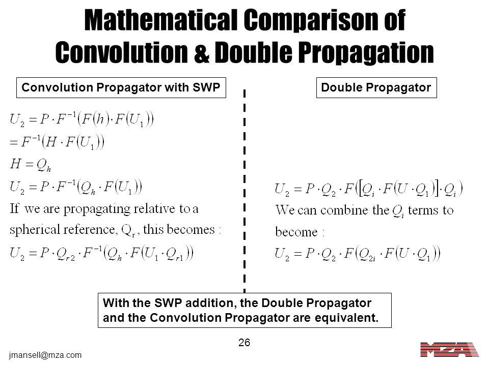 Mathematical Comparison of Convolution & Double Propagation