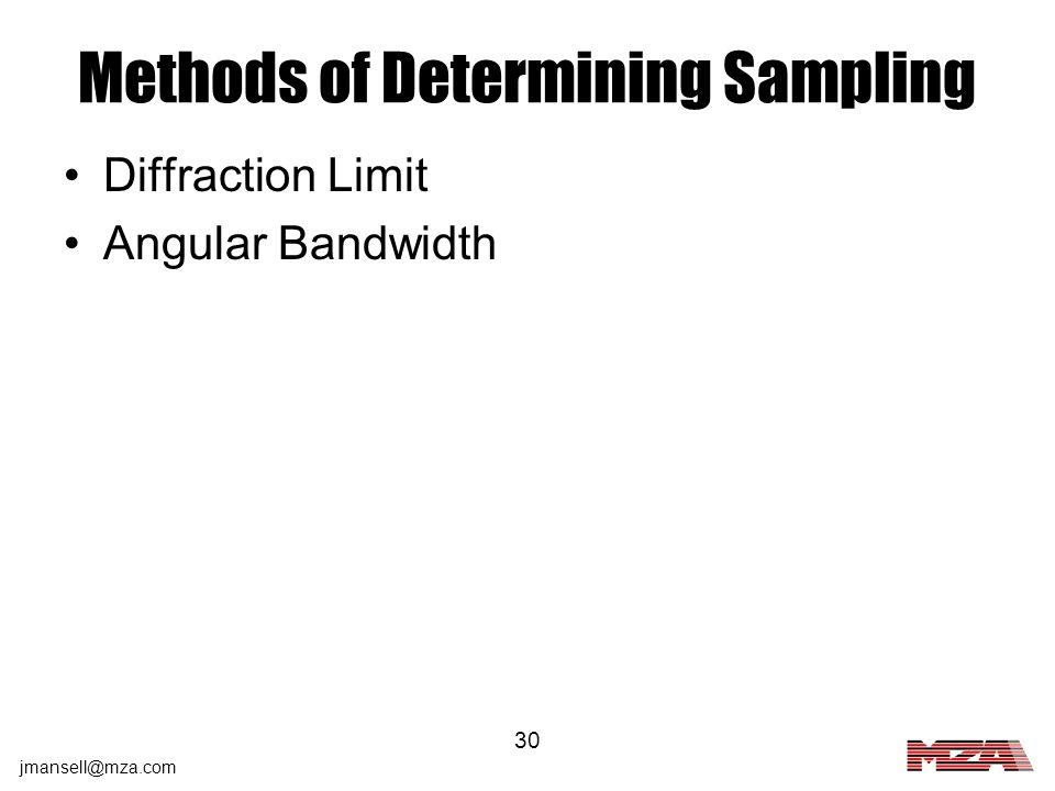Methods of Determining Sampling