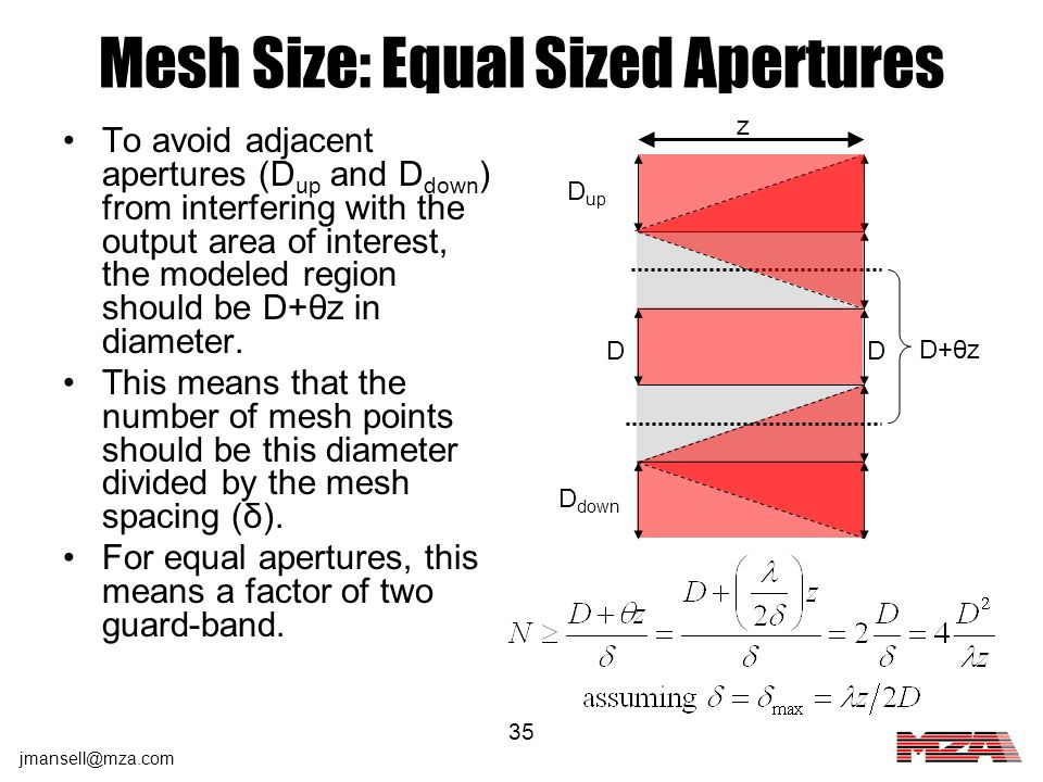 Mesh Size: Equal Sized Apertures