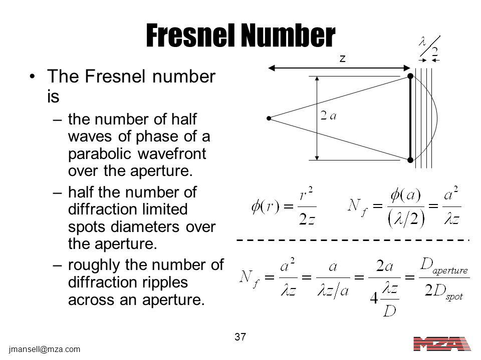 Fresnel Number The Fresnel number is