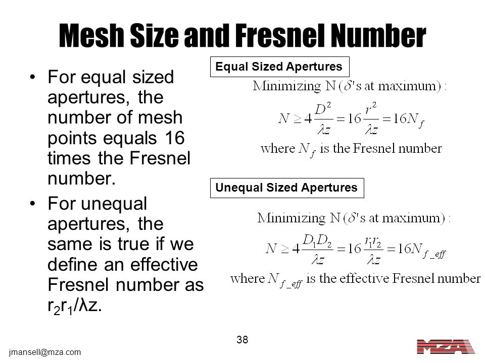 Mesh Size and Fresnel Number