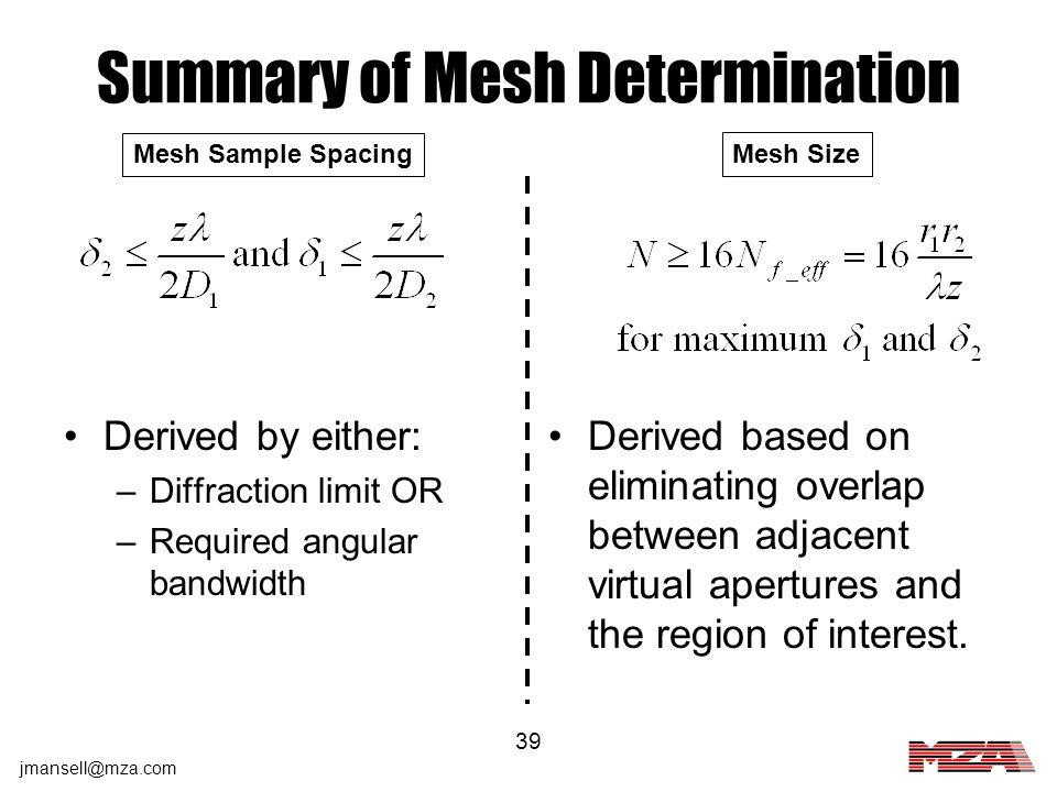 Summary of Mesh Determination