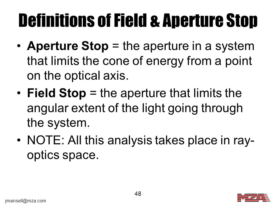 Definitions of Field & Aperture Stop