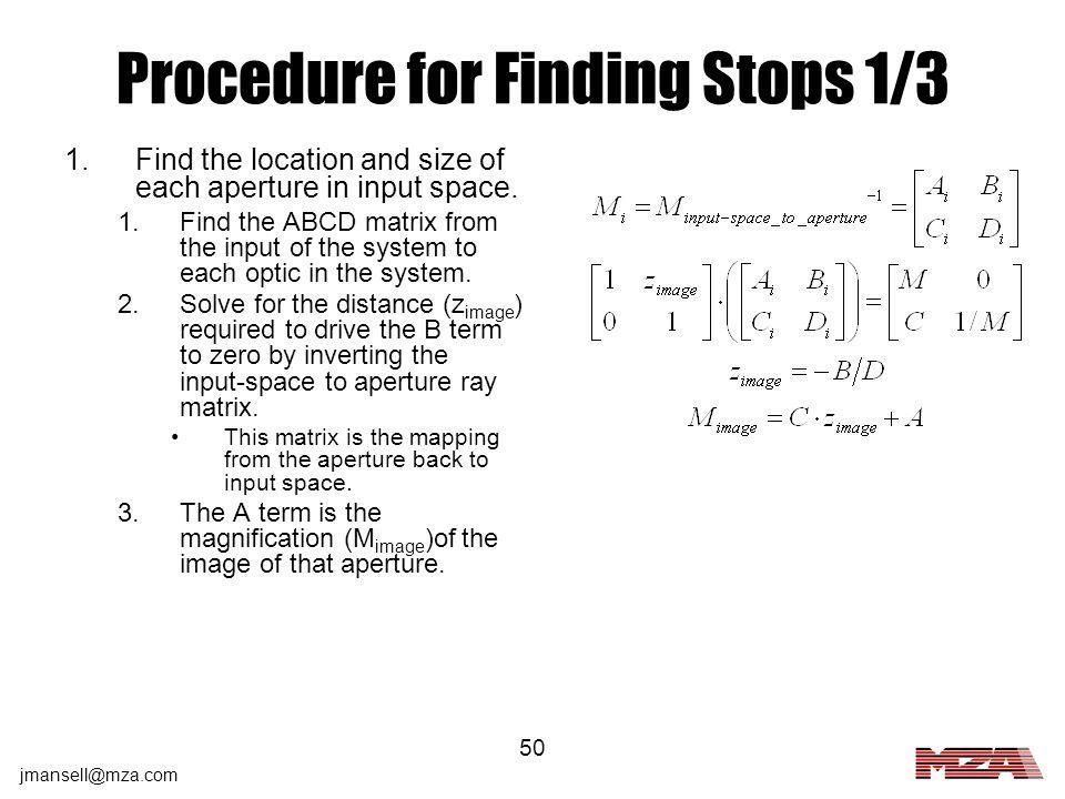 Procedure for Finding Stops 1/3