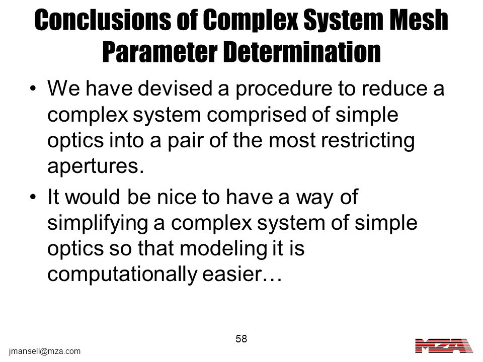 Conclusions of Complex System Mesh Parameter Determination