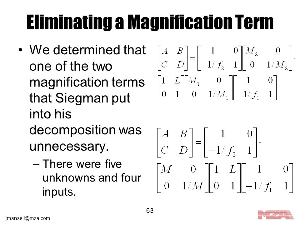 Eliminating a Magnification Term