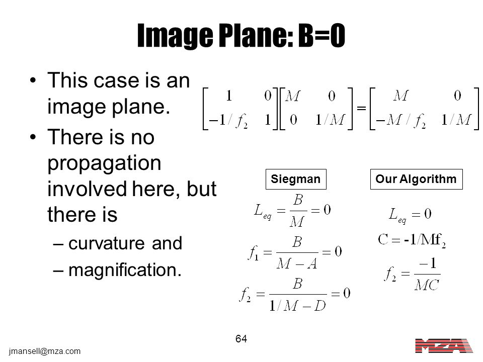 Image Plane: B=0 This case is an image plane.