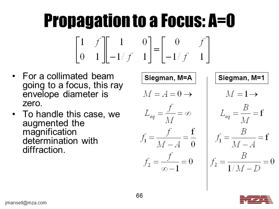 Propagation to a Focus: A=0