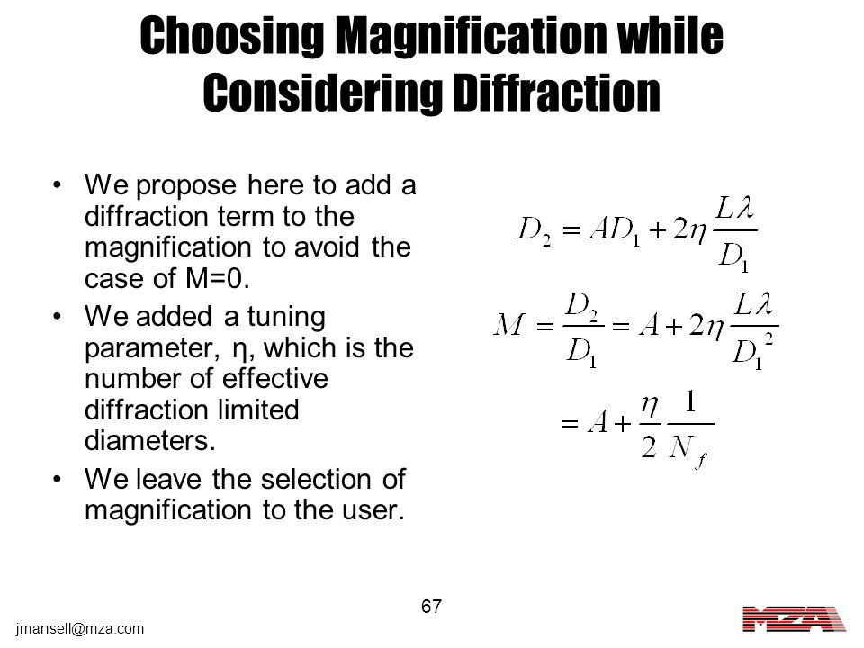 Choosing Magnification while Considering Diffraction