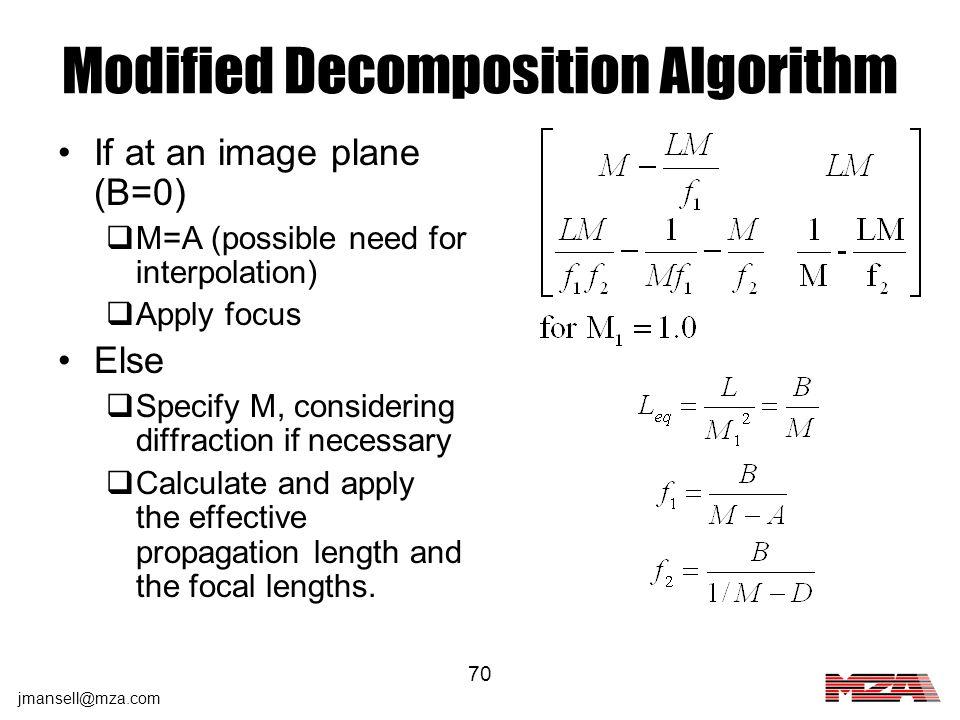 Modified Decomposition Algorithm