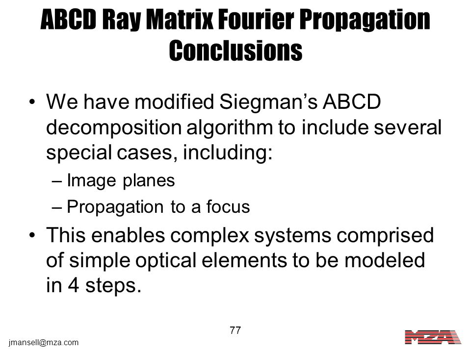 ABCD Ray Matrix Fourier Propagation Conclusions
