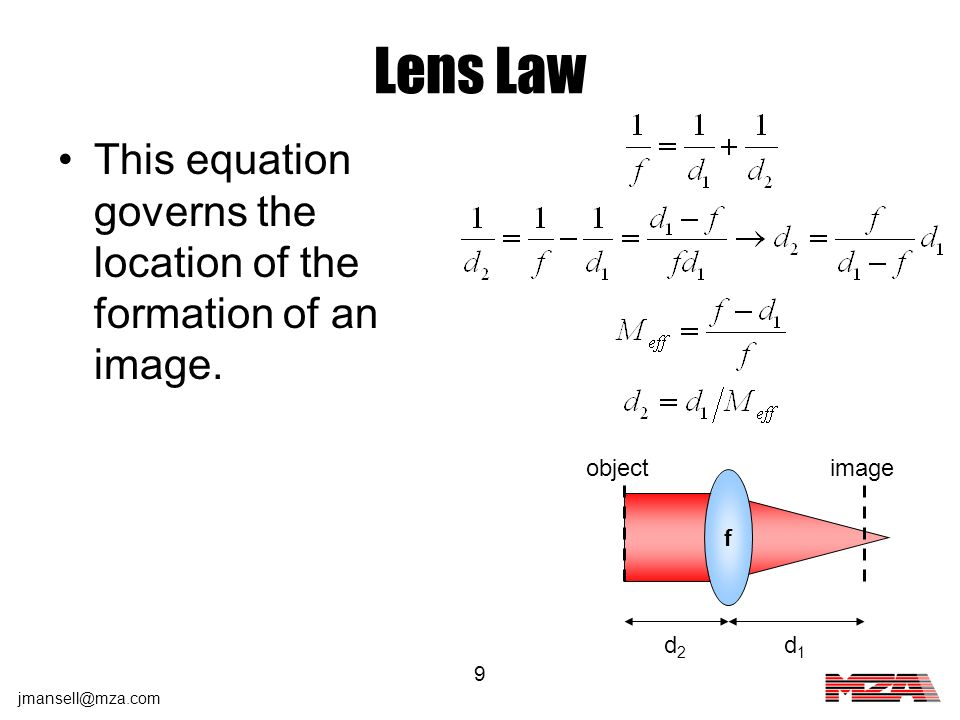 Lens Law This equation governs the location of the formation of an image. object image f d2 d1