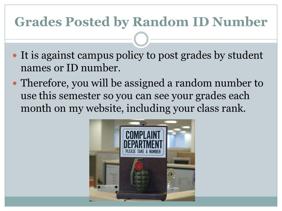 Grades Posted by Random ID Number