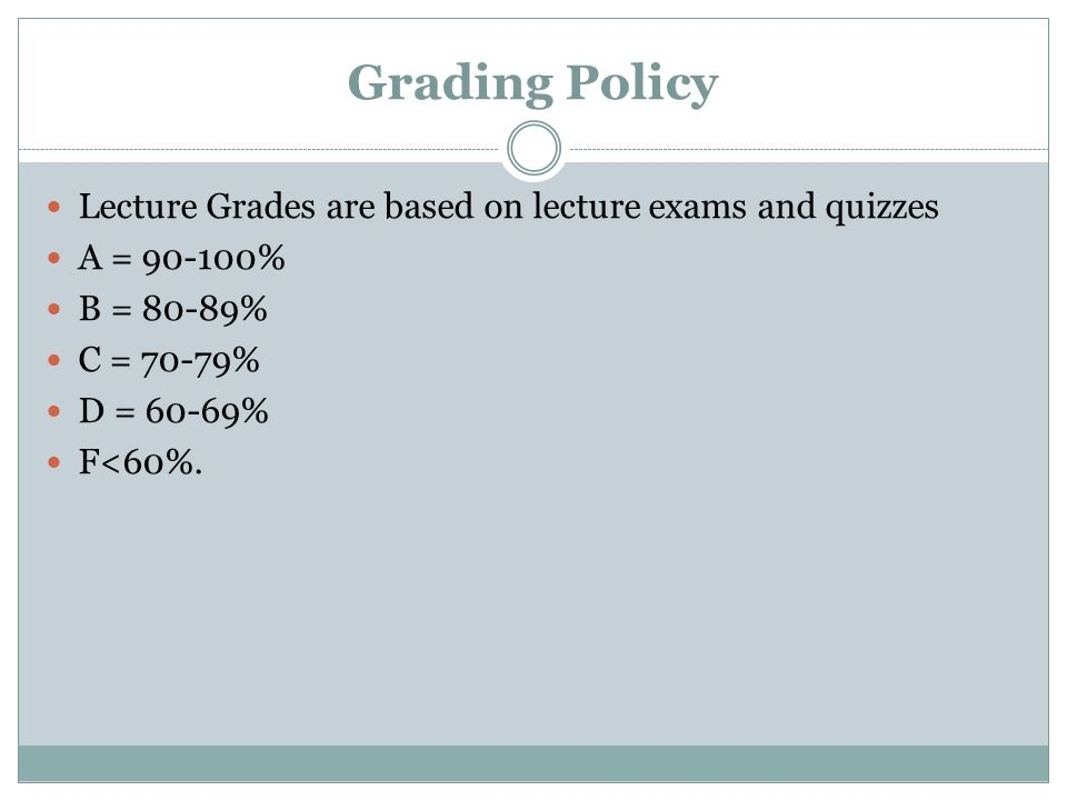 Grading Policy Lecture Grades are based on lecture exams and quizzes